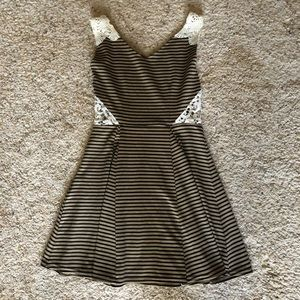 Tan and black striped dress with lace detail